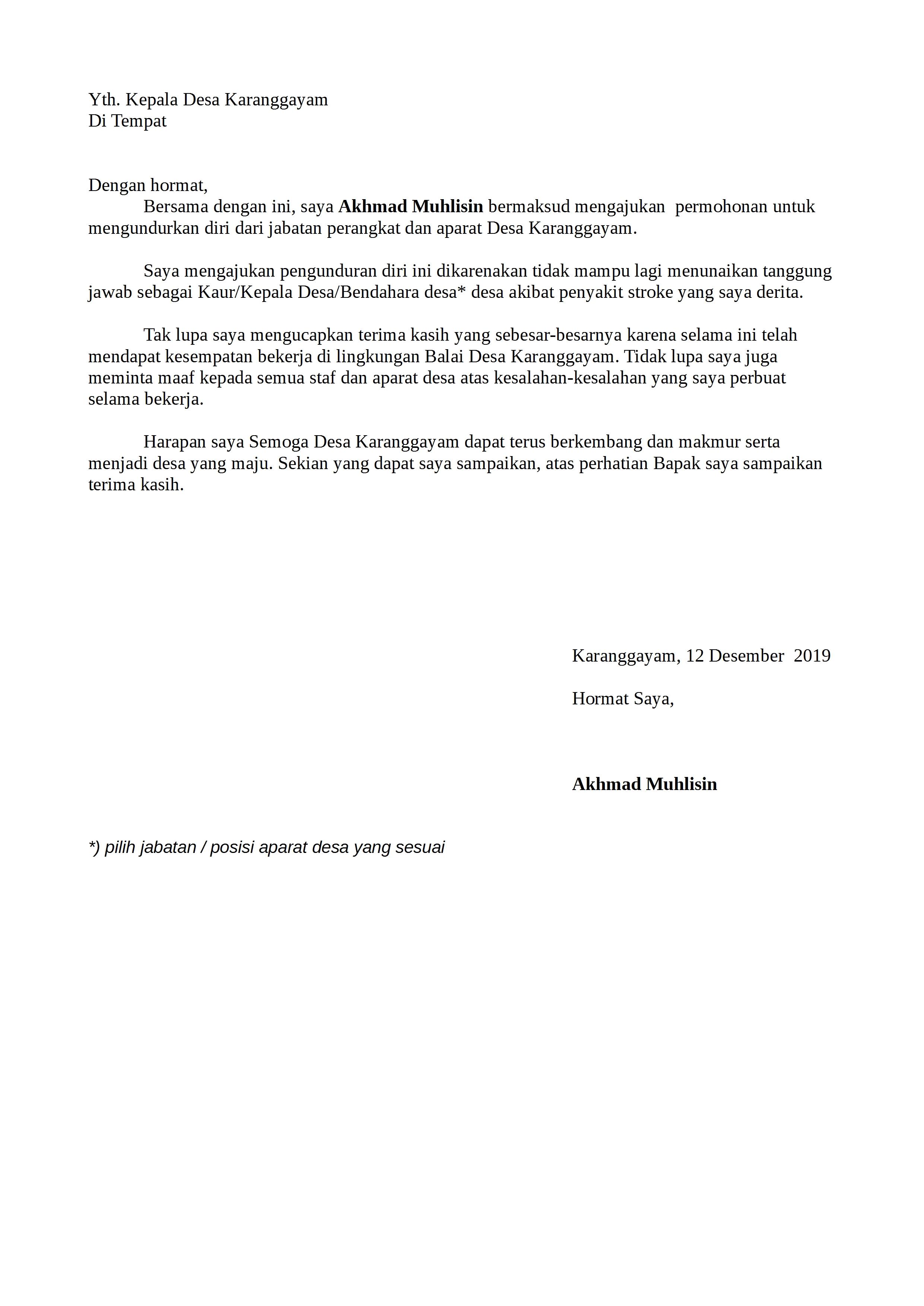 Contoh Surat Pengunduran Diri Lpmd