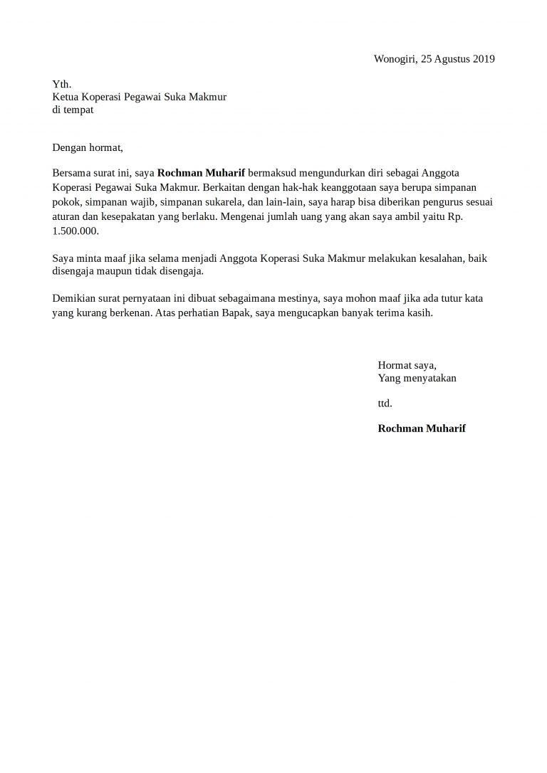 Contoh Surat Pengunduran Diri Koperasi Yang Baik Dan Benar ...