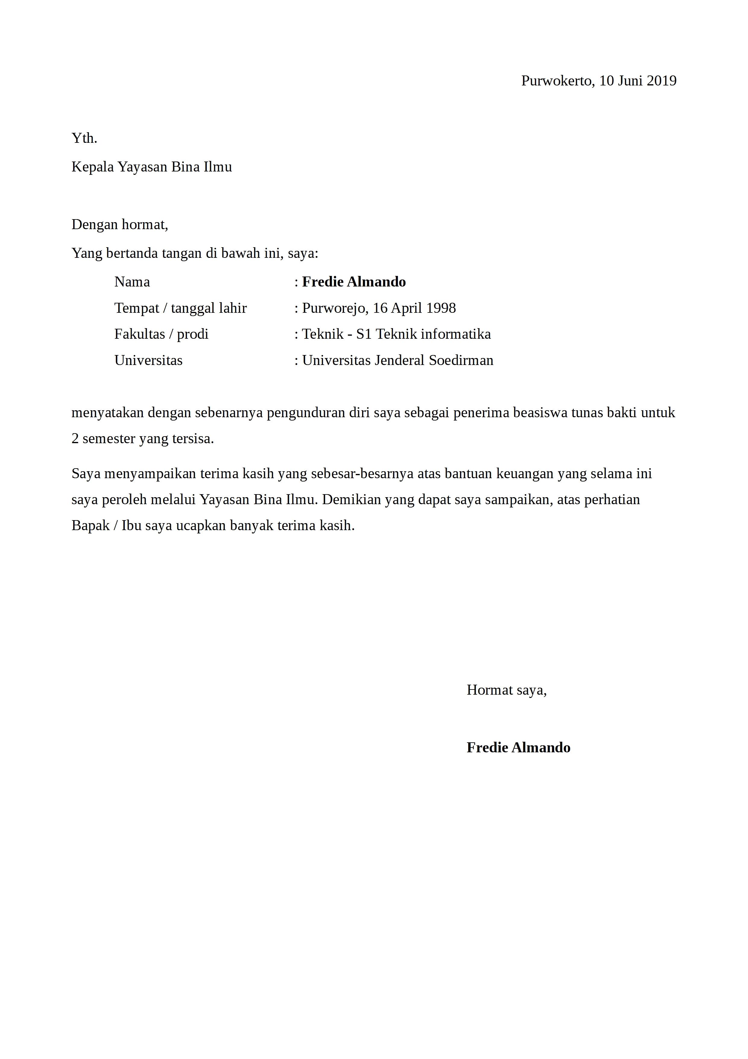 Contoh Surat Pengunduran Diri Dari Perusahaan Pt