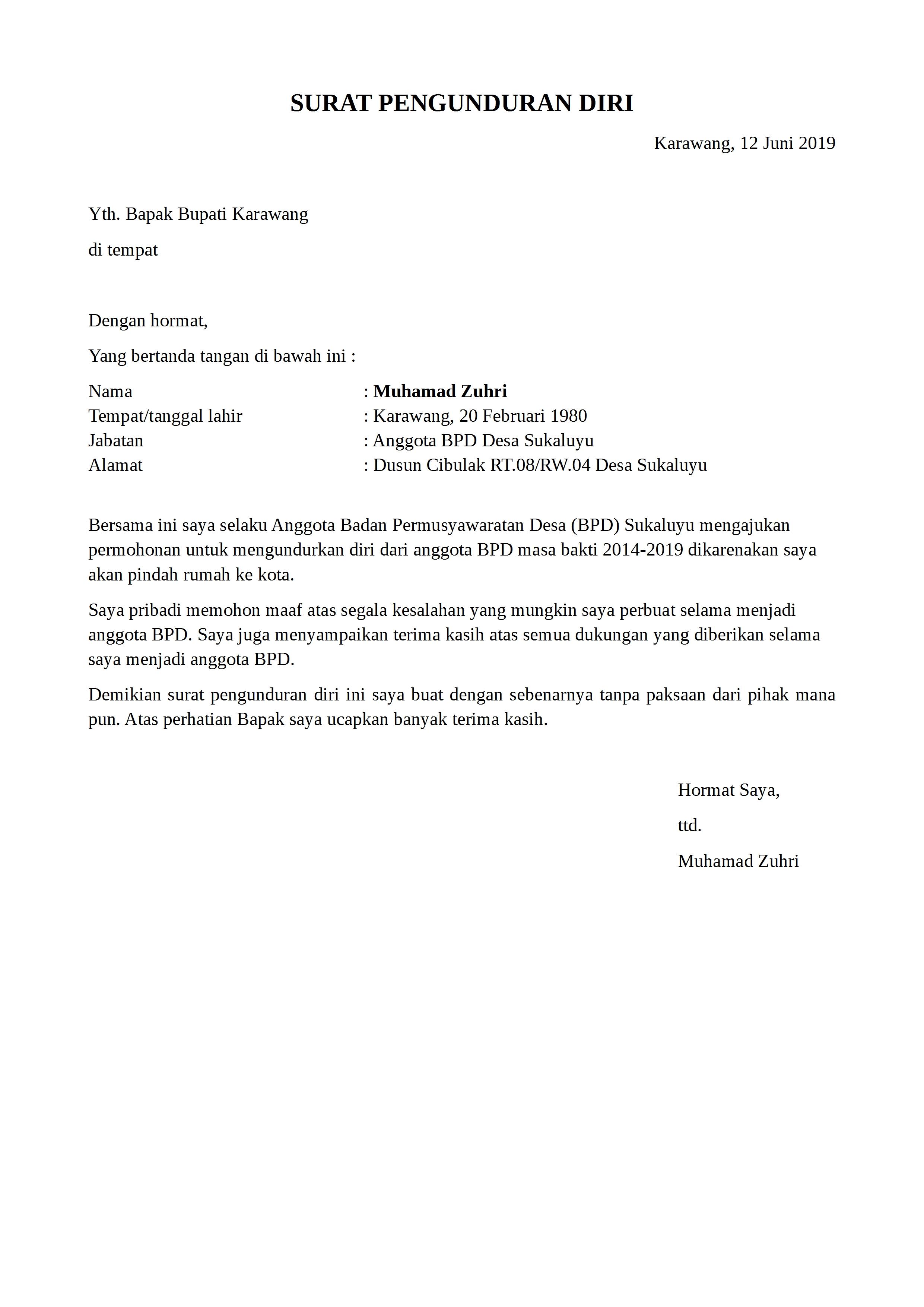 Contoh Surat Pengunduran Diri Lpm Desa
