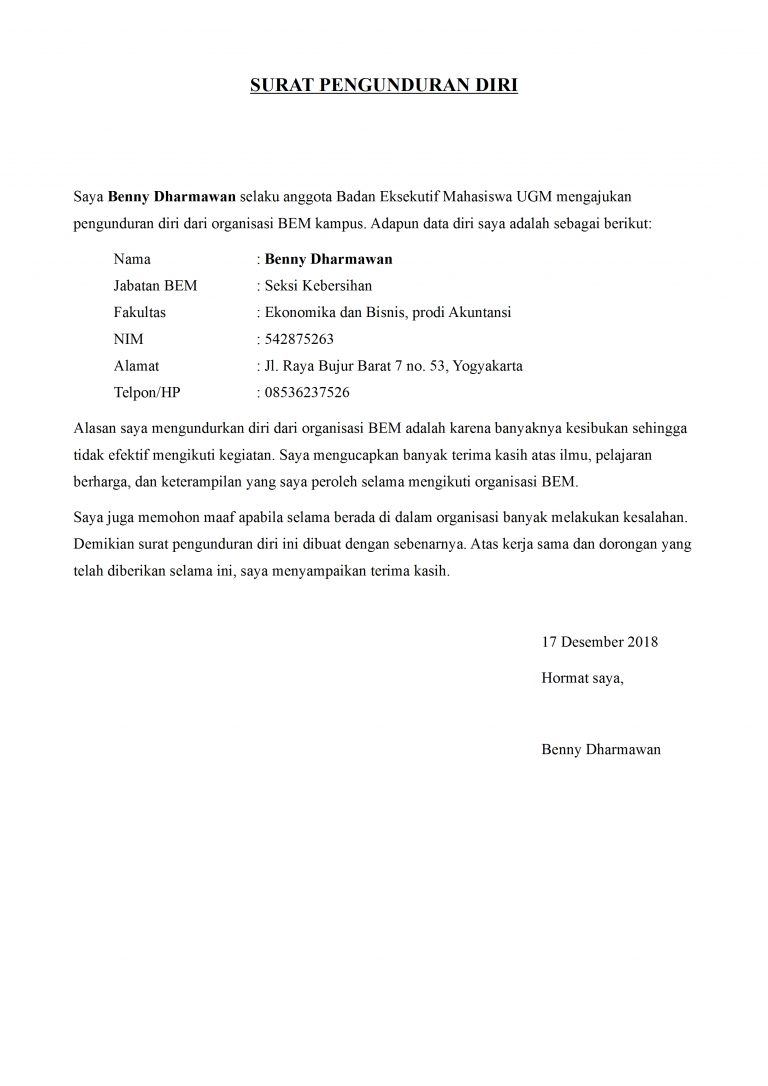 Contoh Surat Pengunduran Diri Organisasi Kampus Yang Baik