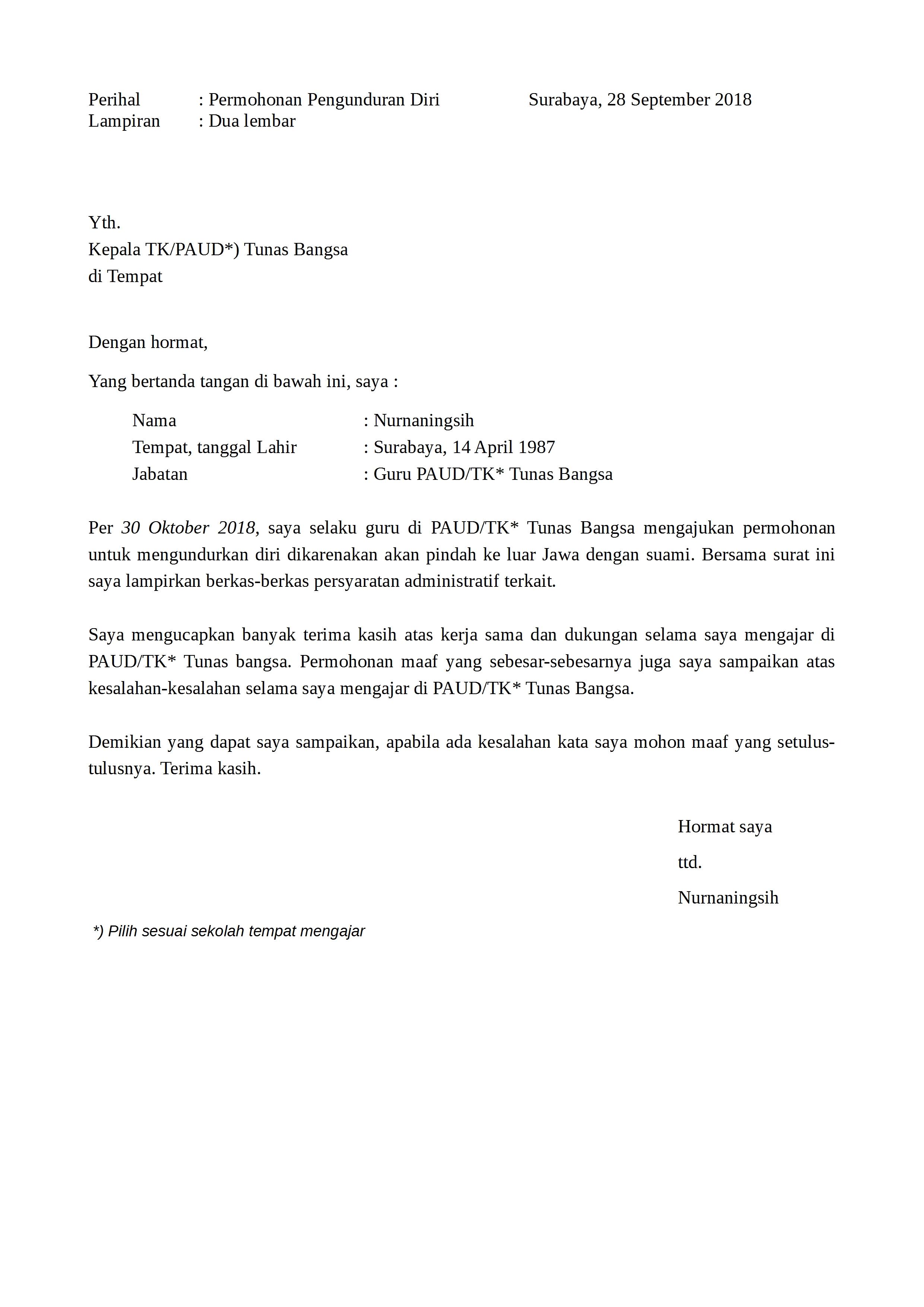 Surat Pengunduran Diri Guru Tk Paud Doc Word Detiklife