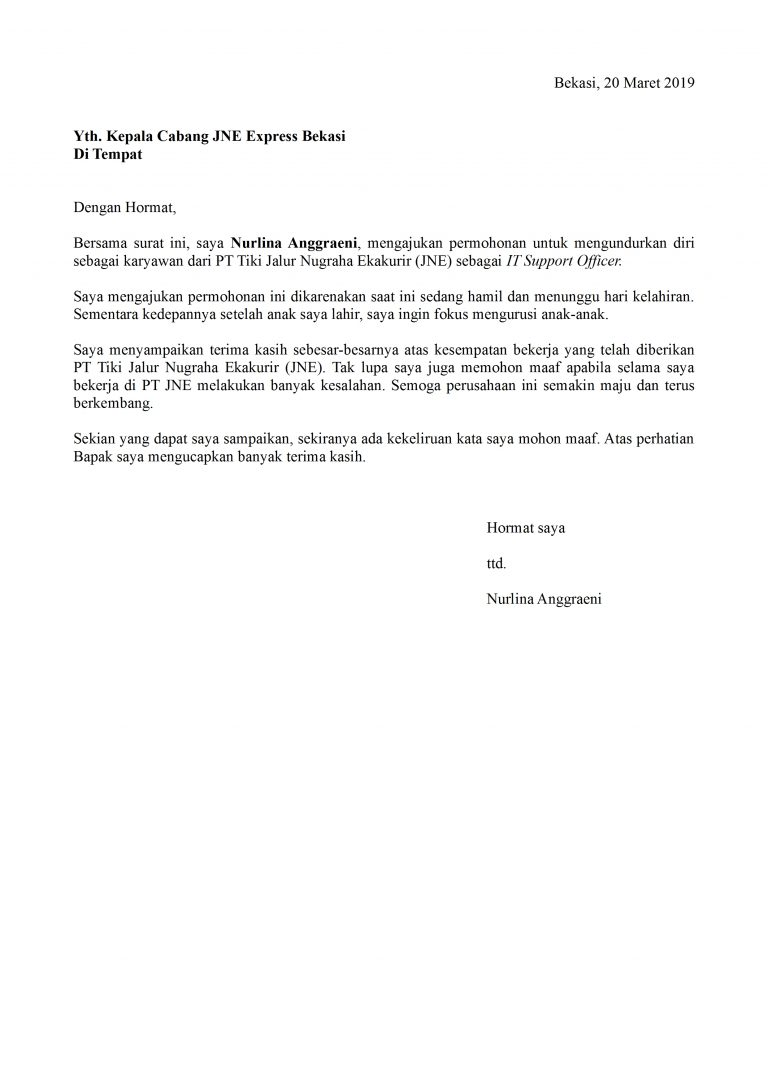 10+ Contoh surat resign kerja terbaru yang baik