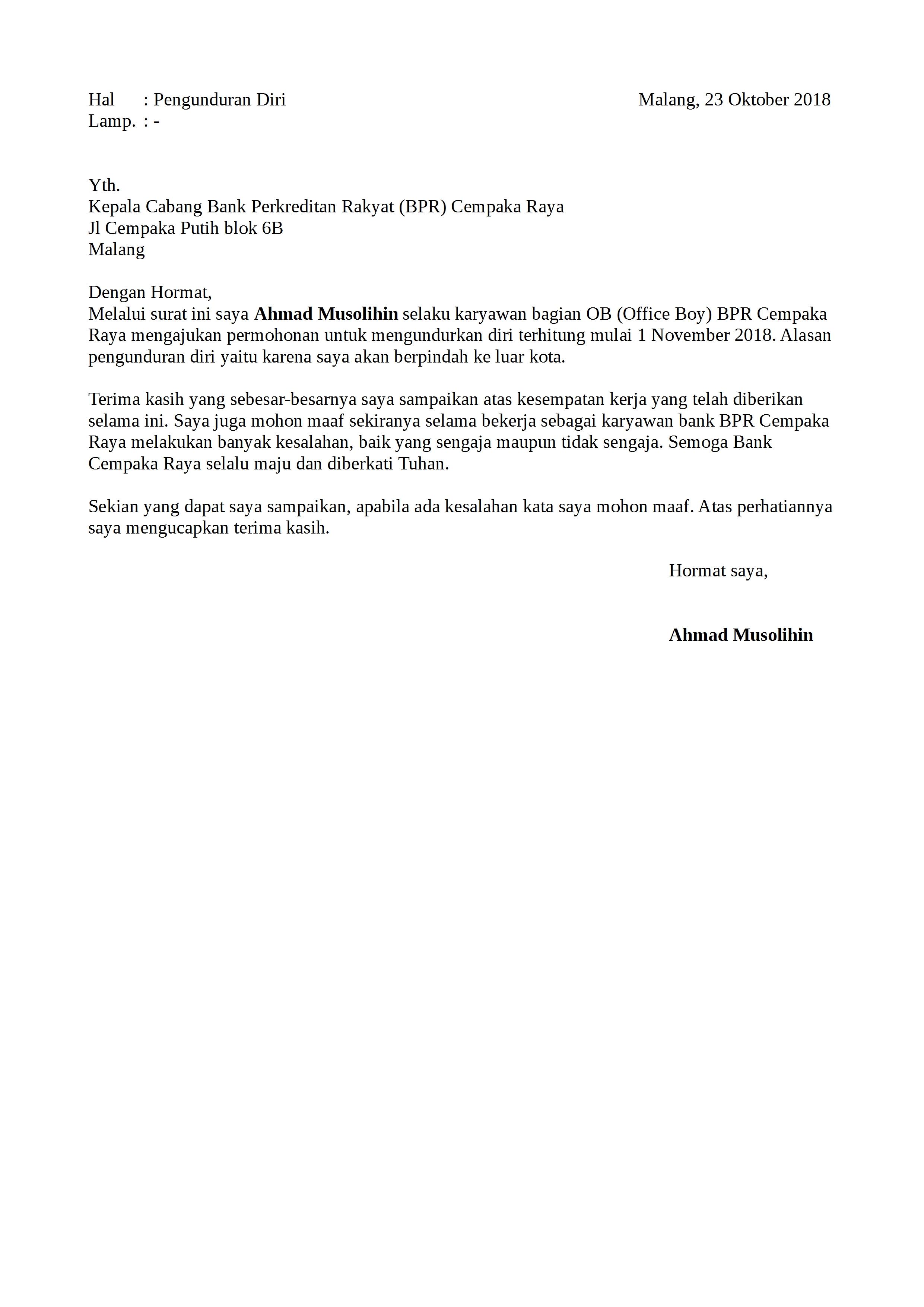 Contoh surat pengunduran diri karyawan hotel / restoran ...