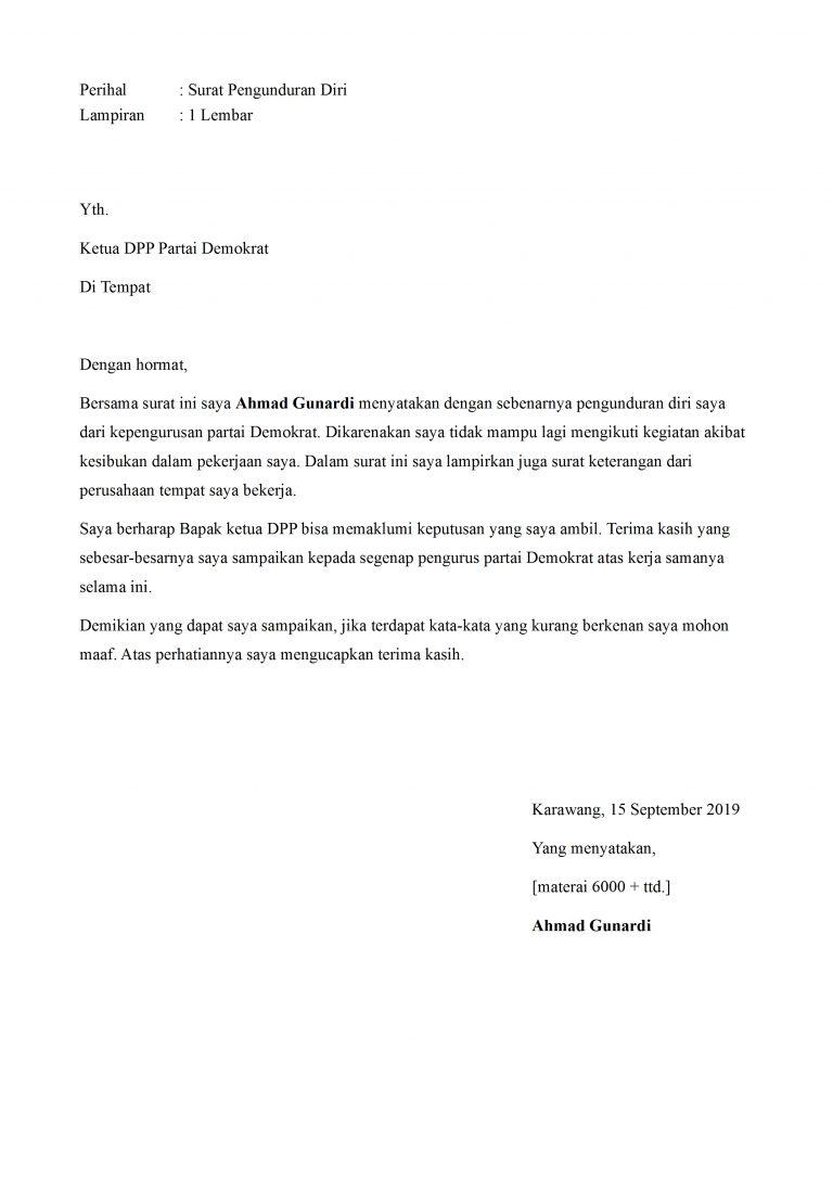Contoh Surat Pengunduran Diri Dari Partai Yang Baik Dan ...