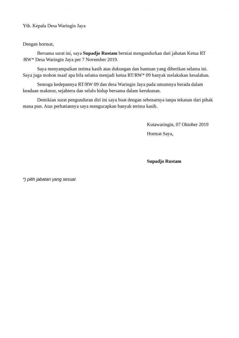 Surat Pengunduran Diri Bpd Badan Permusyawaratan Desa Detiklife