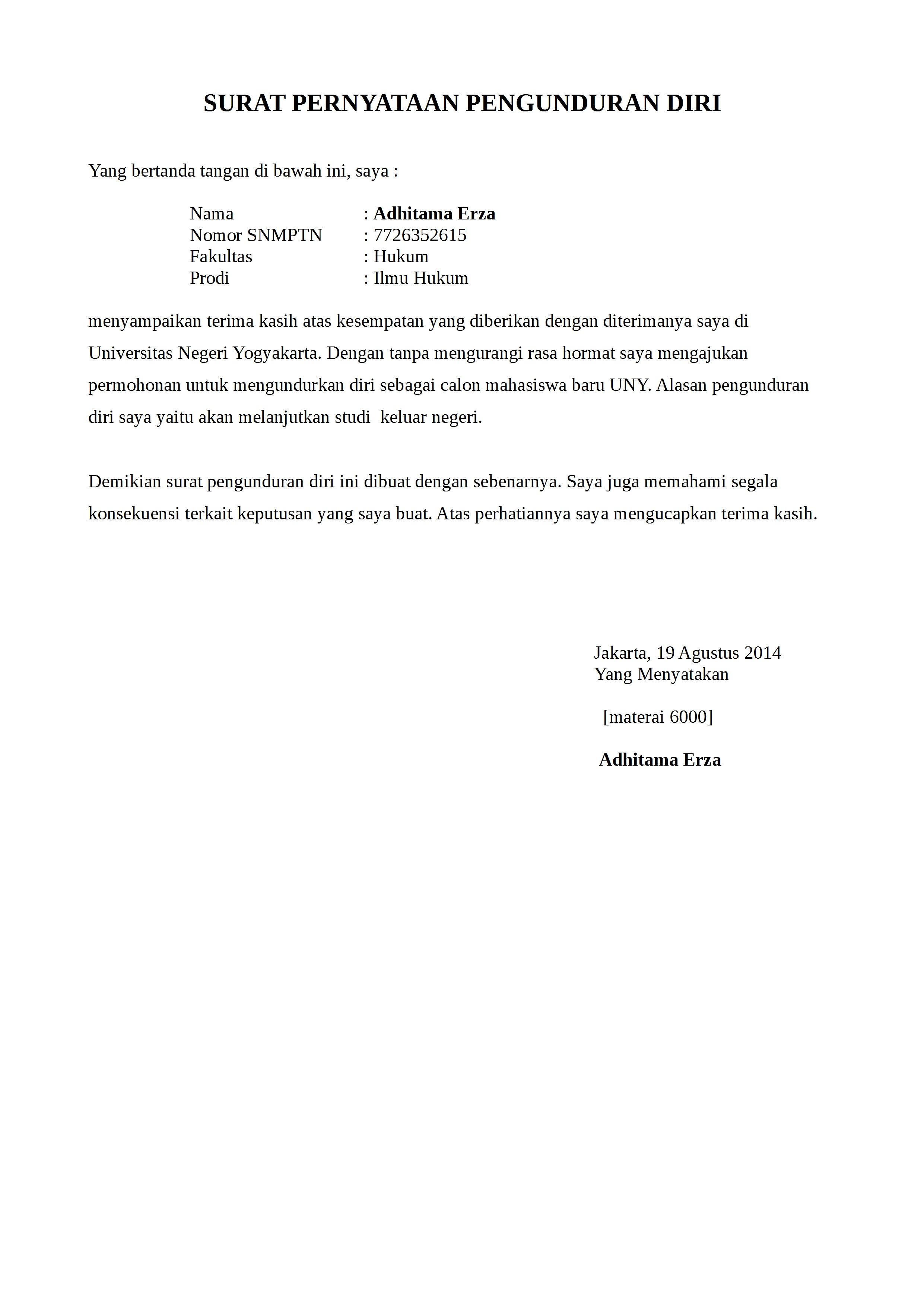 Contoh Surat Pengunduran Diri Fakultas