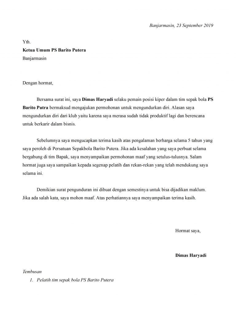 Contoh Surat Pengunduran Diri Atlet Yang Baik Dan Sopan