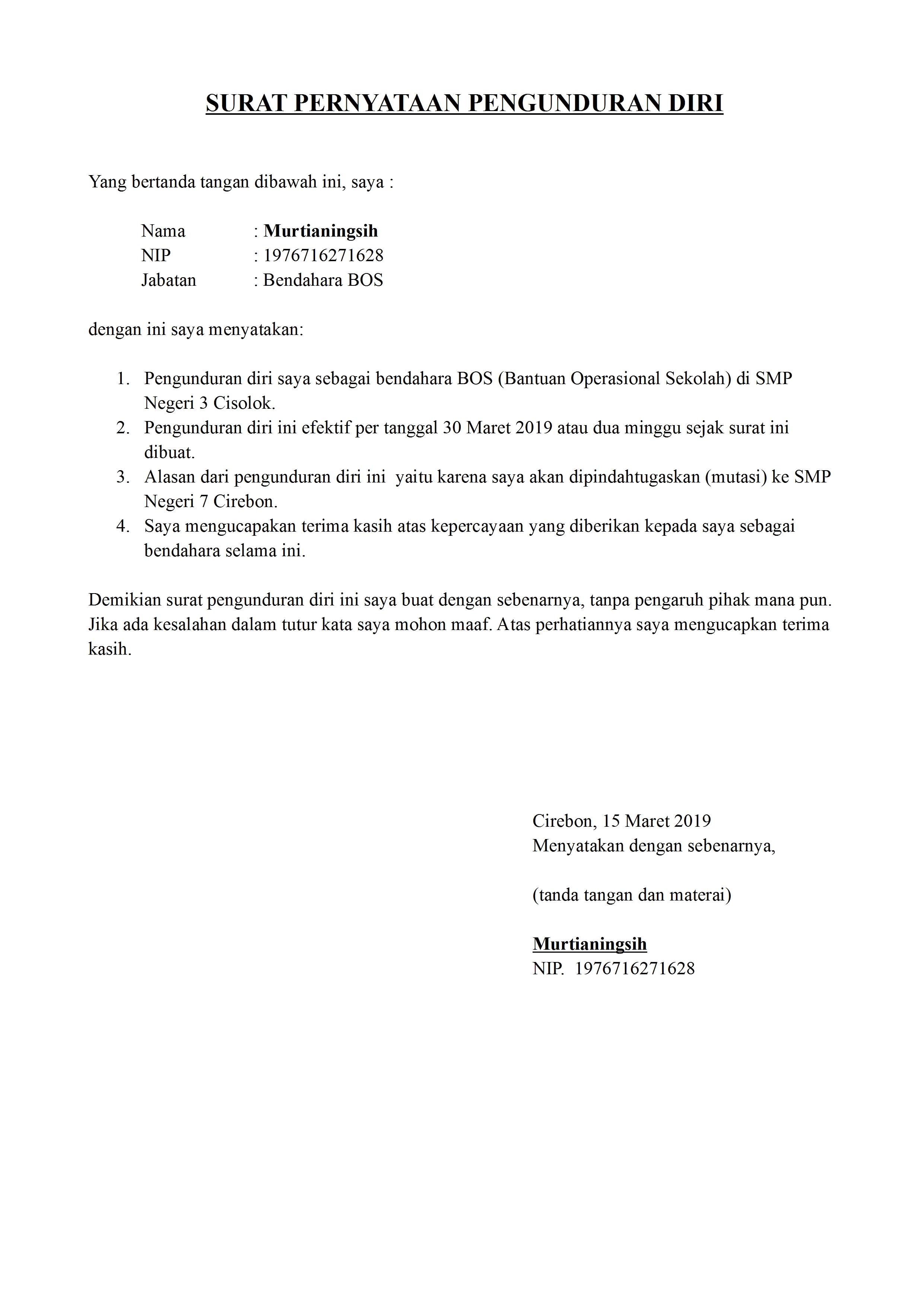 30++ Contoh surat pengunduran diri jd rt terbaru yang baik dan benar