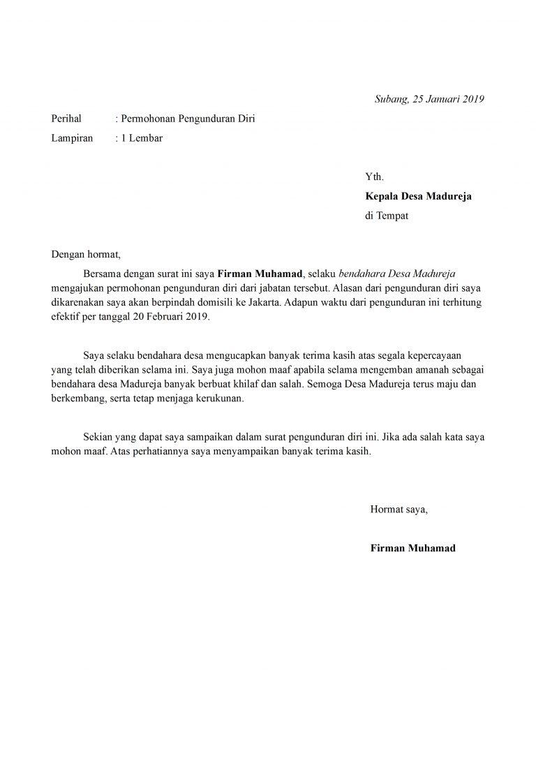 Contoh Surat Pengunduran Diri Bendahara Yang Baik Dan ...