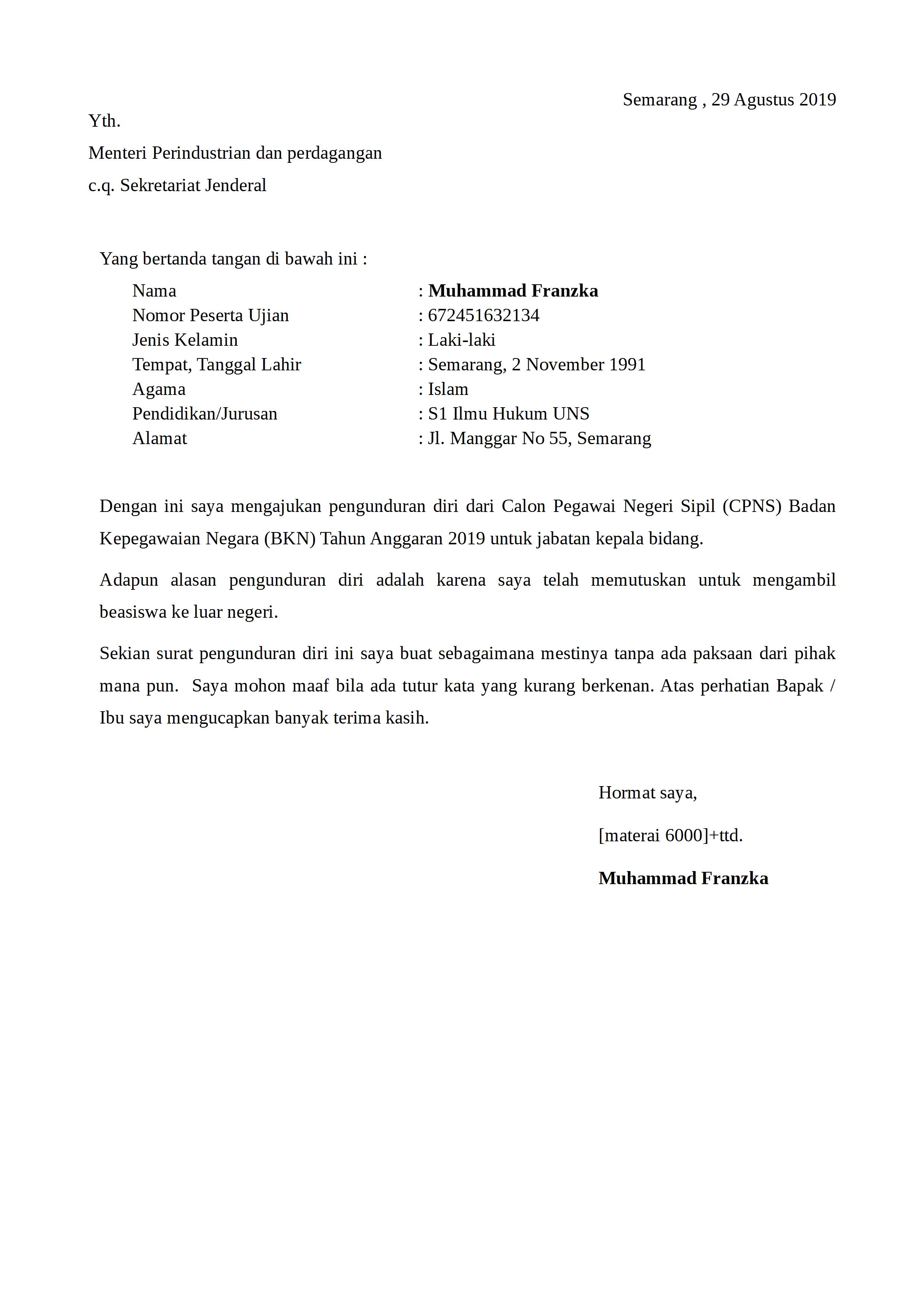 Contoh Surat Pengunduran Diri Non Formal