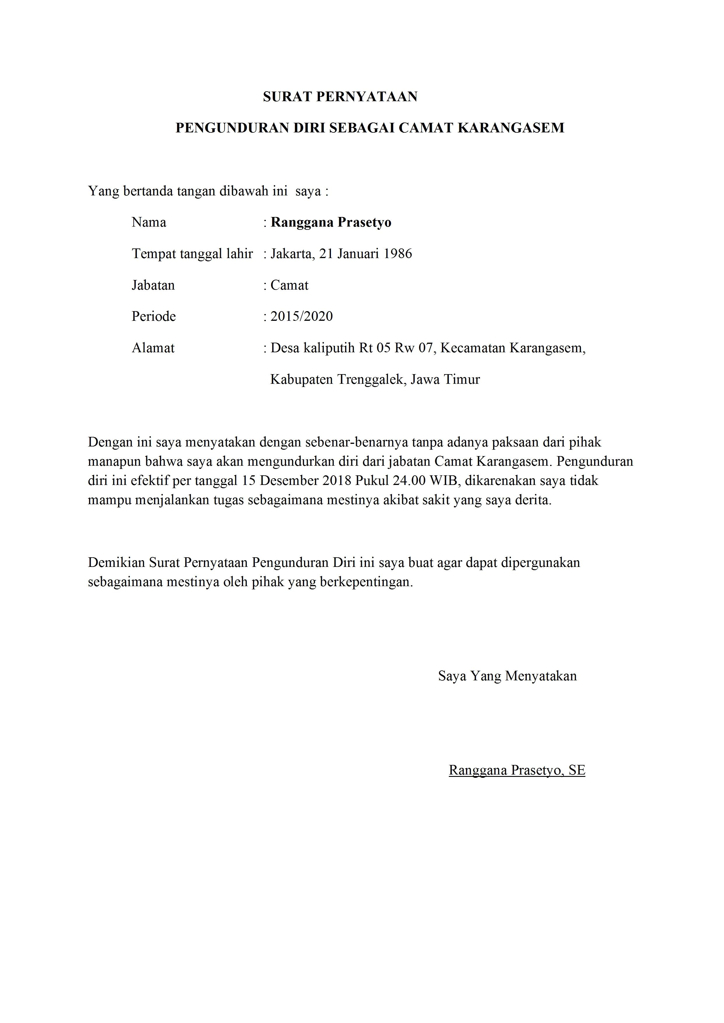 Contoh Surat Pengunduran Diri Dari Jabatan Pemerintahan Yang Baik Dan Benar Detiklife