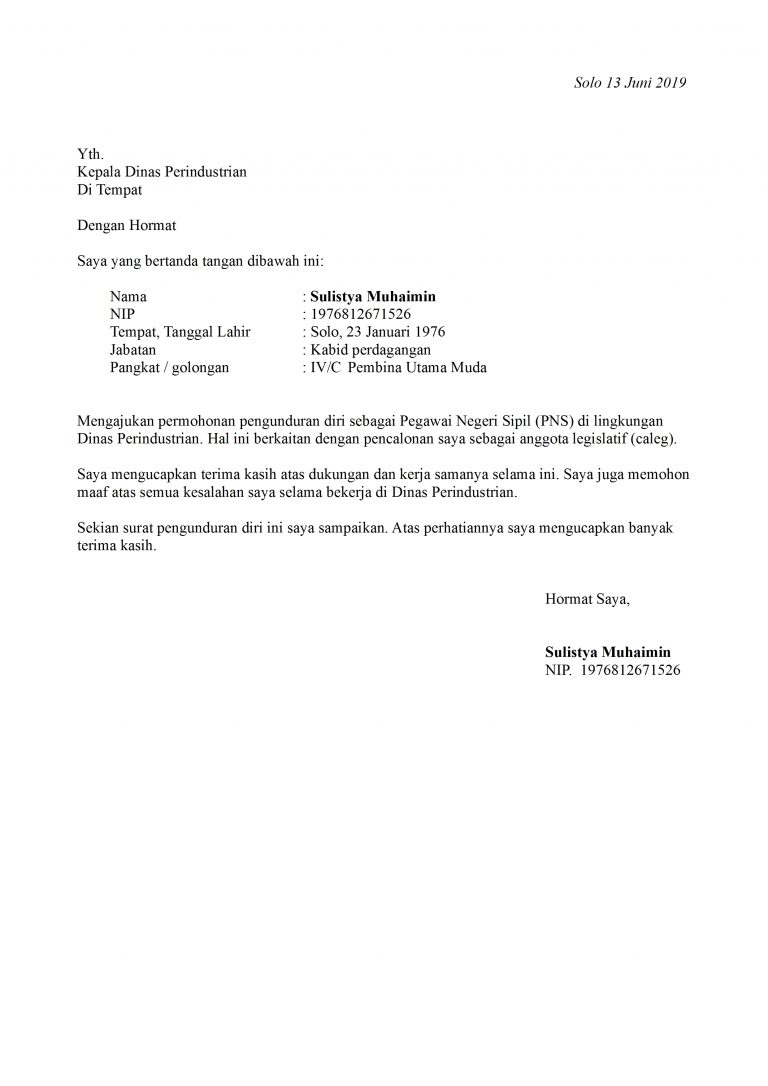 Contoh Surat Permohonan Pengunduran Diri Dari Pns Contoh Surat