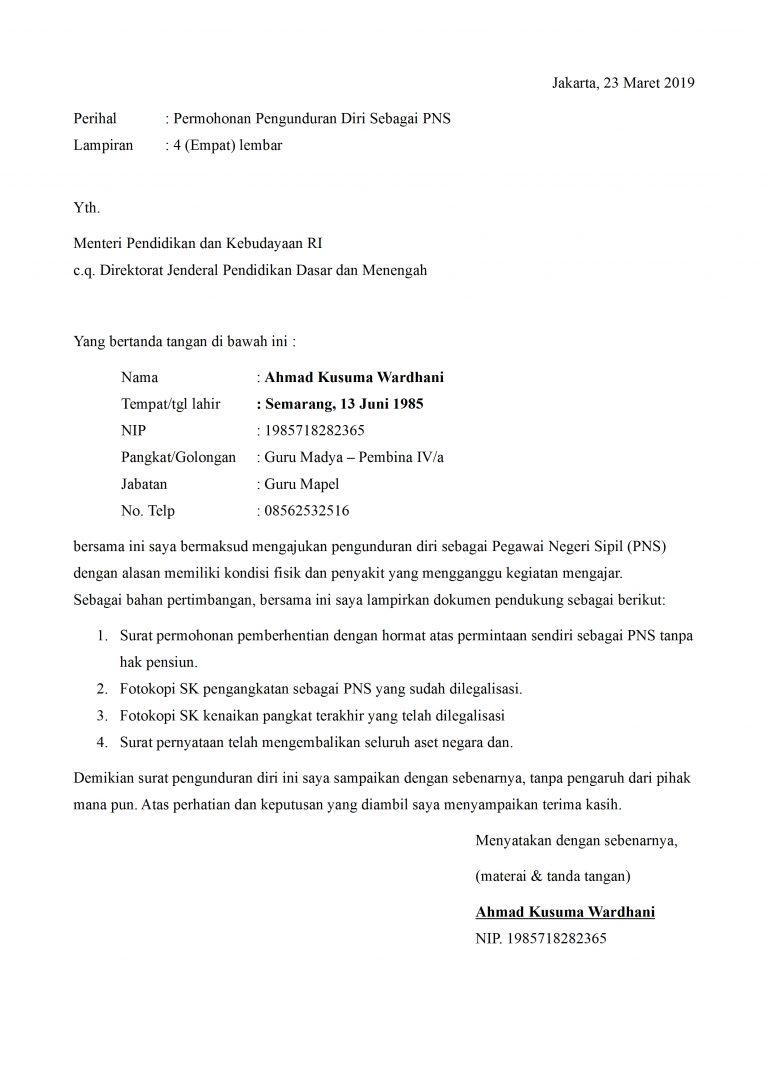 Contoh Surat Pengunduran Diri Guru Doc