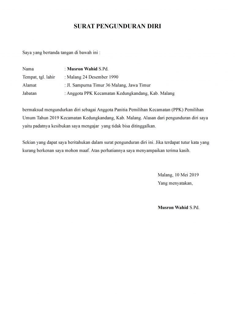 Contoh Surat Pengunduran Diri Panitia Pemilihan Umum Detiklife