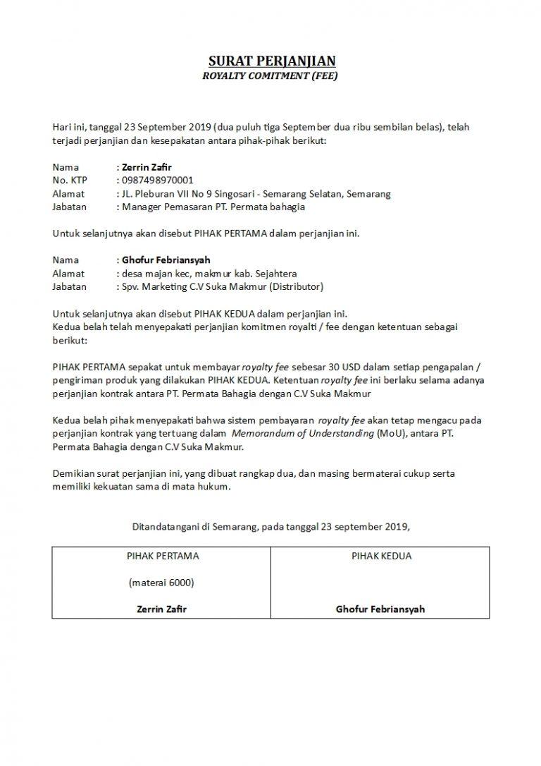 Contoh Surat Perjanjian Fee Yang Benar Dan Sah Detiklife