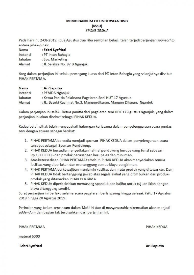 contoh surat perjanjian mou yang sah dan singkat