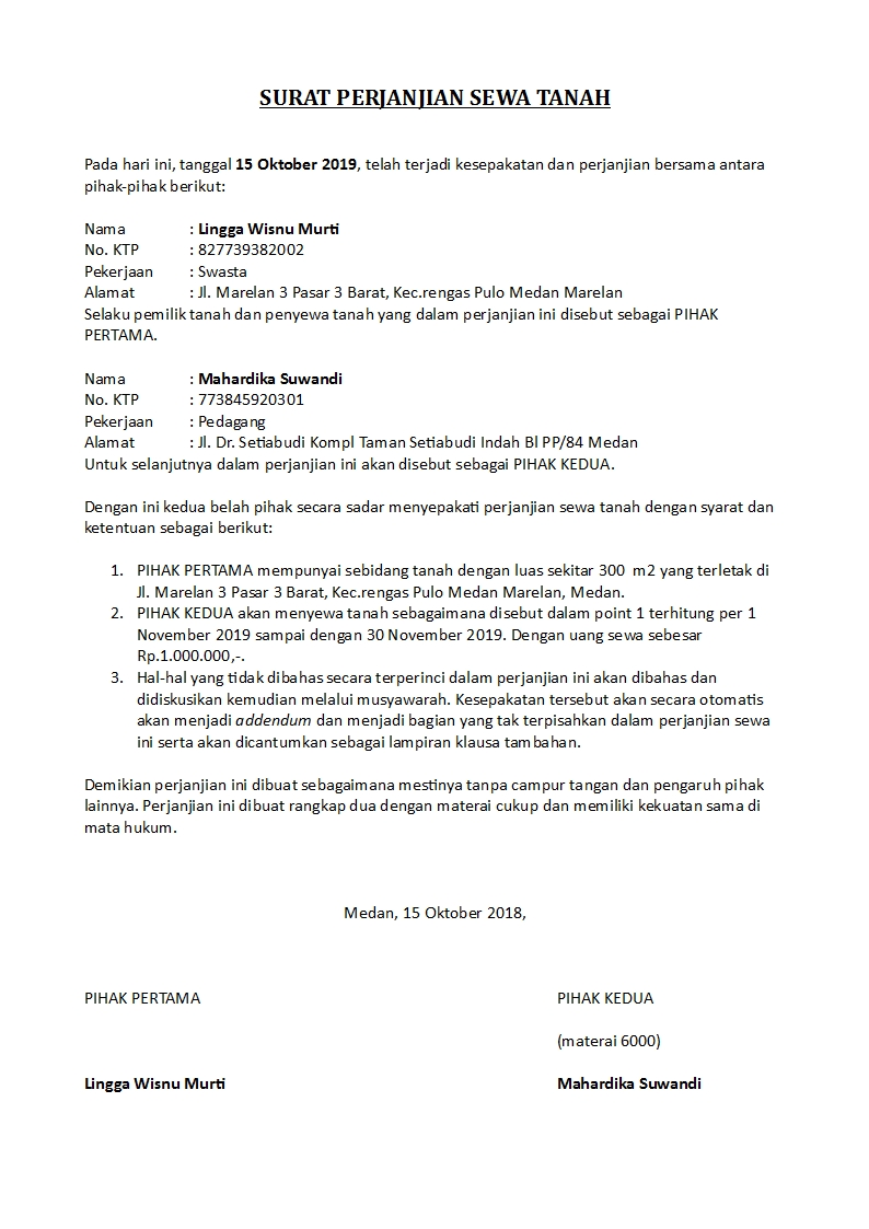 Contoh Surat Perjanjian Sewa Tanah Dan Bangunan Yang Singkat Detiklife