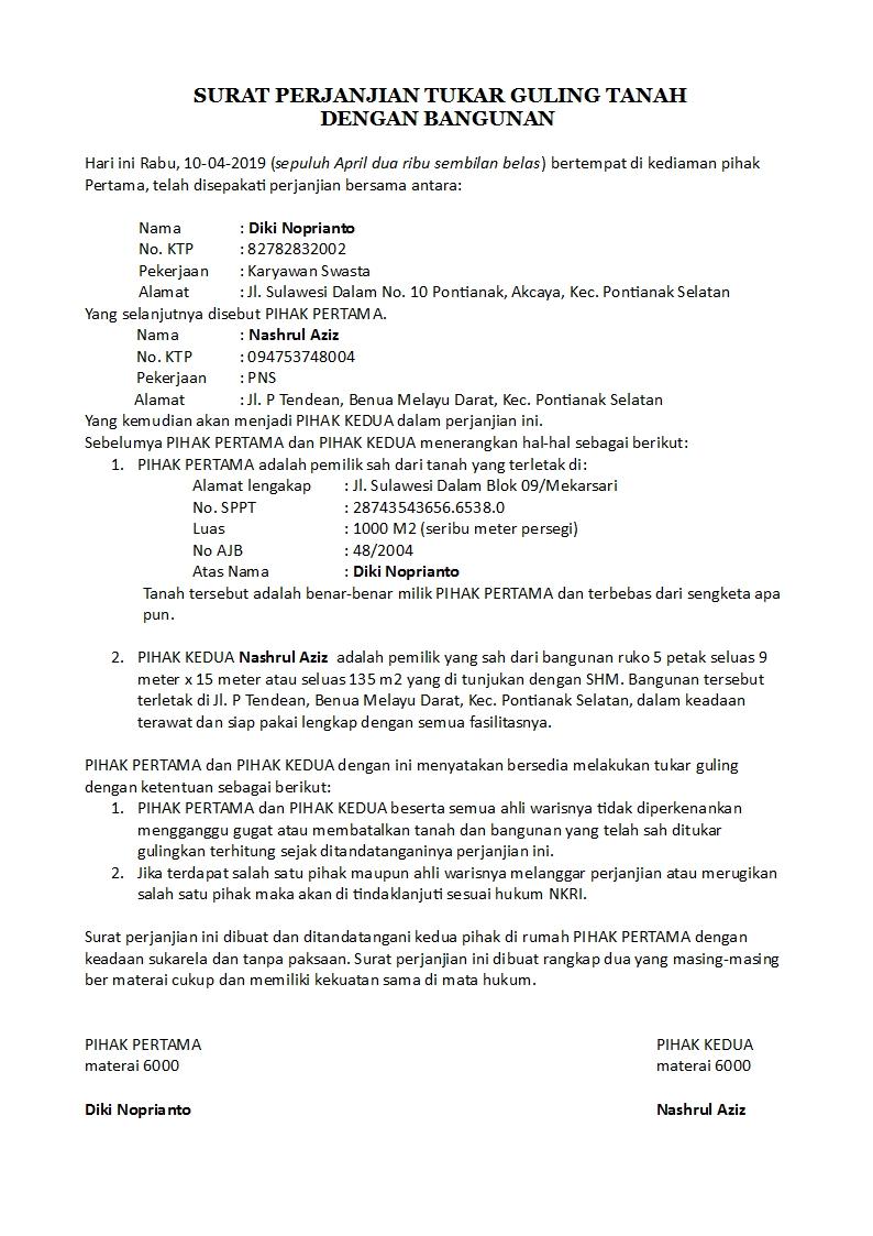 Pertukaran Contoh Surat Tukar Nama Pemilik