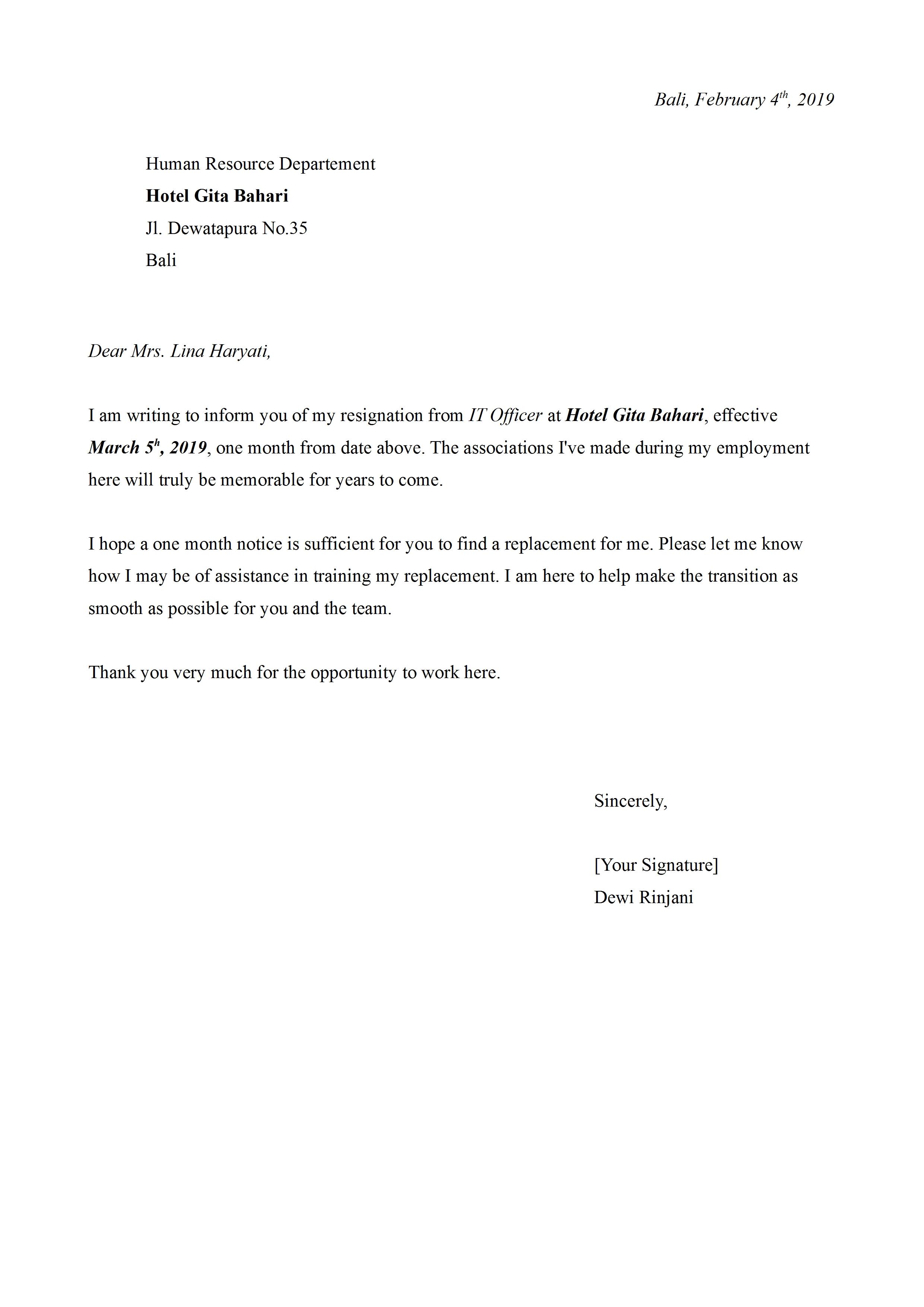 Contoh Surat Resign Bahasa Inggris Dan Artinya Yang Baik Dan Benar Detiklife