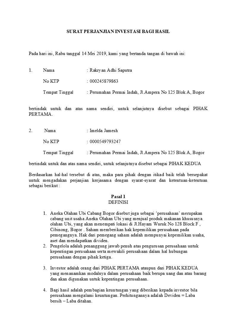 Contoh Surat Perjanjian Investasi Yang Baik Dan Benar Detiklife