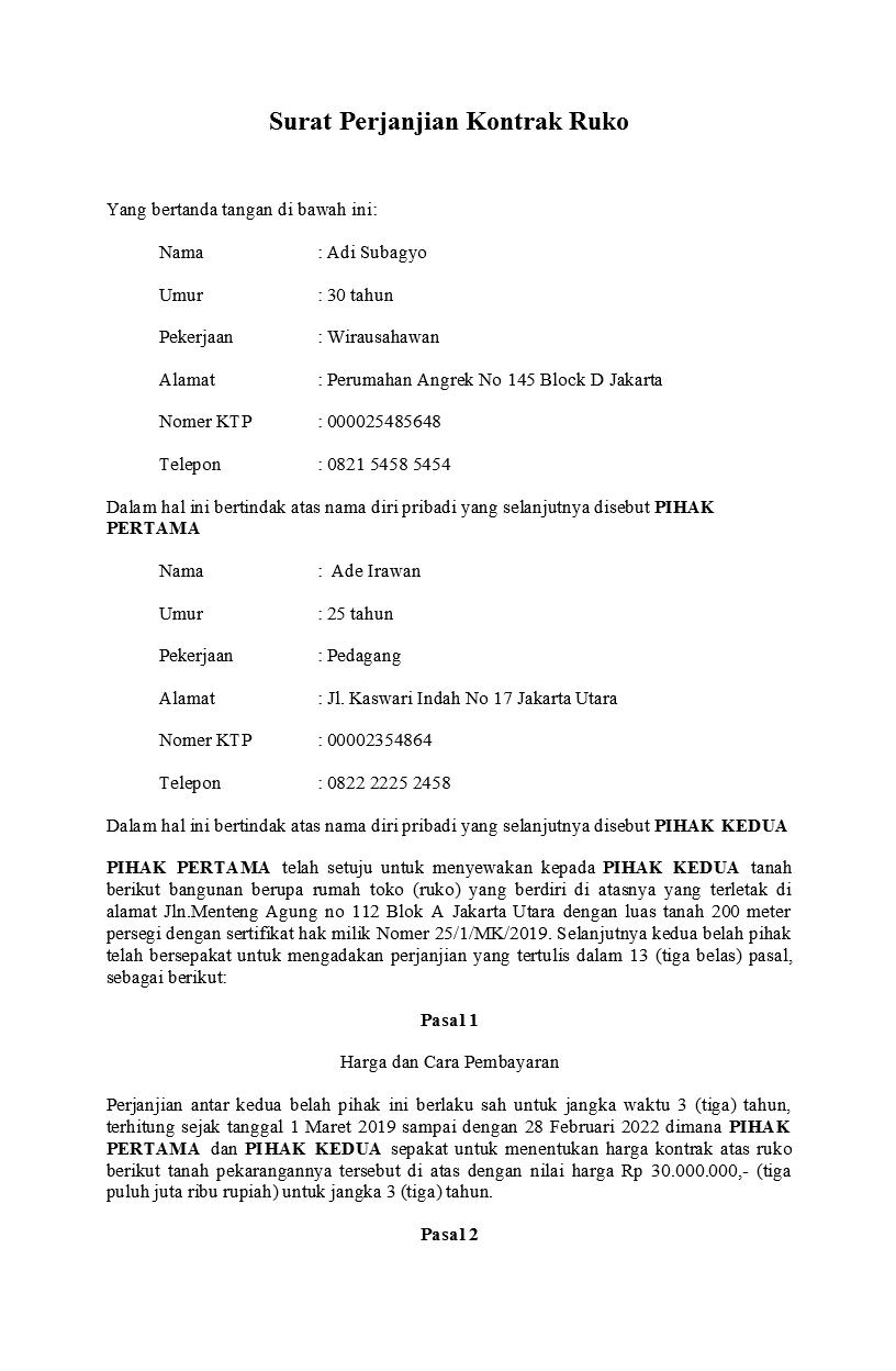 Contoh Surat Perjanjian Kontrak Yang Baik Dan Benar Detiklife