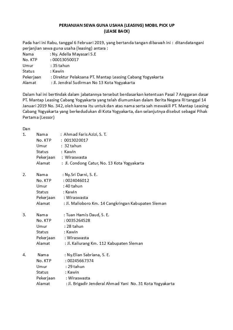 Contoh Surat Perjanjian Leasing Yang Baik Dan Benar Detiklife