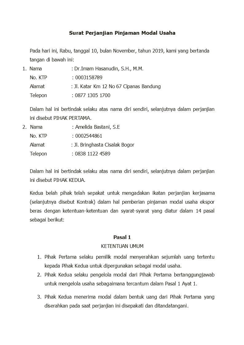 Contoh Surat Perjanjian Kerjasama Permodalan Detiklife