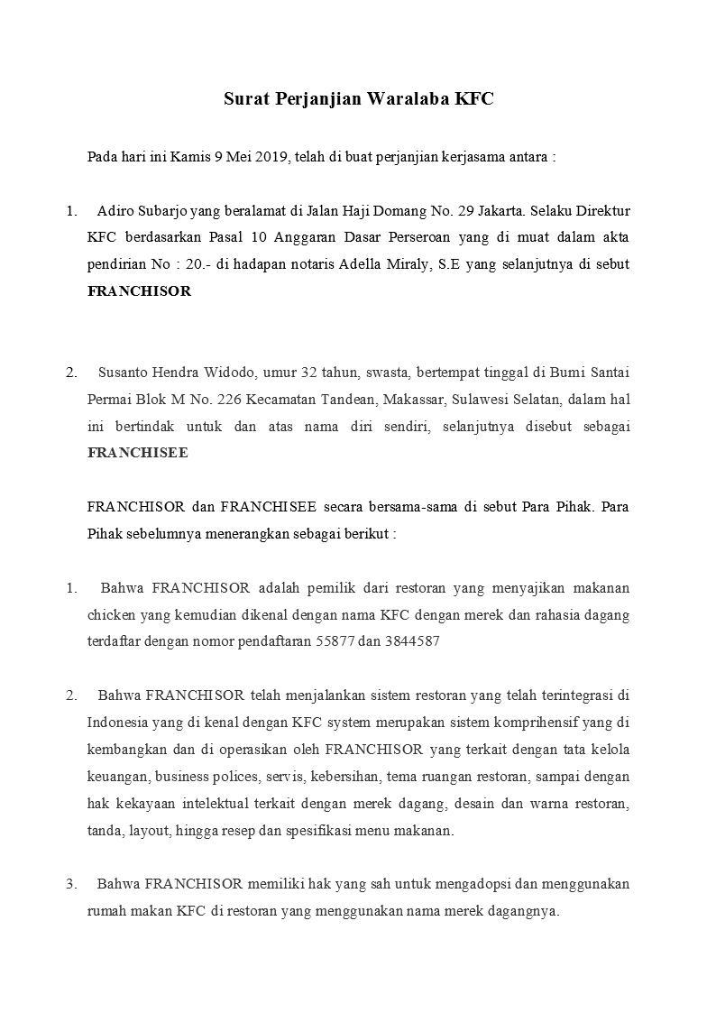 Surat Perjanjian Waralaba Kfc Detiklife